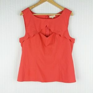 ModCloth | Coral Peek-A-Boo Sleeveless Top Size XL